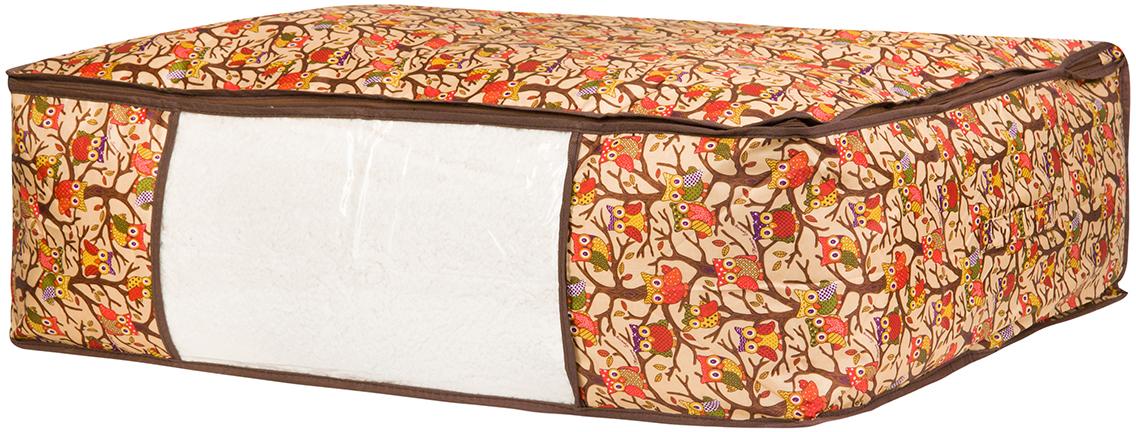 Кофр для хранения одеял и пледов El Casa Совы на ветках, цвет: бежевый, 80 х 60 х 25 см