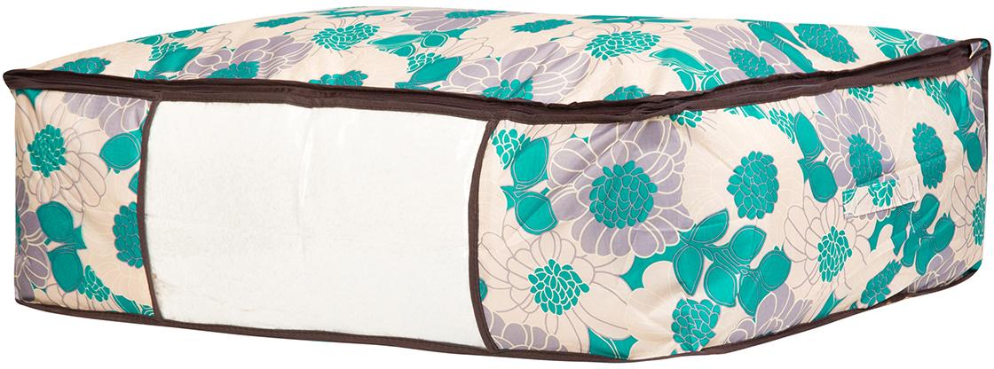 Кофр для хранения одеял и пледов El Casa Цветочное поле, цвет: бирюзовый, 80 х 60 х 25 см370468Вместительный мягкий кофр-чехол для хранения одеял, пледов и домашнего текстиля. Прозрачная вставка позволяет видеть содержимое кофра. Застегивается на молнию. Оригинальный дизайн отлично впишется в любой интерьер.