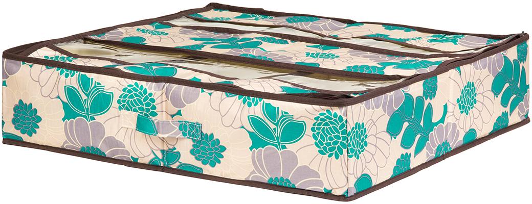 Органайзер для обуви El Casa Цветочное поле, 6 секций, цвет: бирюзовый, 60 х 55 х 13 см370564Органайзер для хранения обуви изготовлен из полиэстера, который позволяет сохранить естественную вентиляцию, а воздуху свободно проникать внутрь, не пропуская пыль. Органайзер имеет жесткие стенки, с прозрачными экранами для удобства, на молнии.