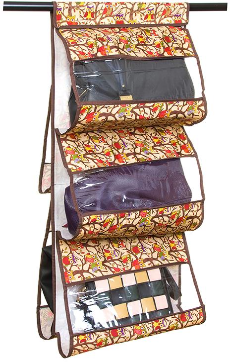 Кофр для хранения сумок El Casa Совы, подвесной, 5 секций, цвет: бежевый, 40 х 10 х 90 см370622Кофр подвесной для сумок с 5 прозрачными секциями изготовлен из высококачественного материала. В шкафу всегда будет порядок, так как кофр для сумок не только очень компактен, но и, несмотря на свои размеры, вмещает множество вещей. Пять секций, расположенных с двух сторон, позволят вам удобно разместить свои сумочки, полотенца, зонтики и многое другое в легкодоступном месте. Размер 40х90 см.