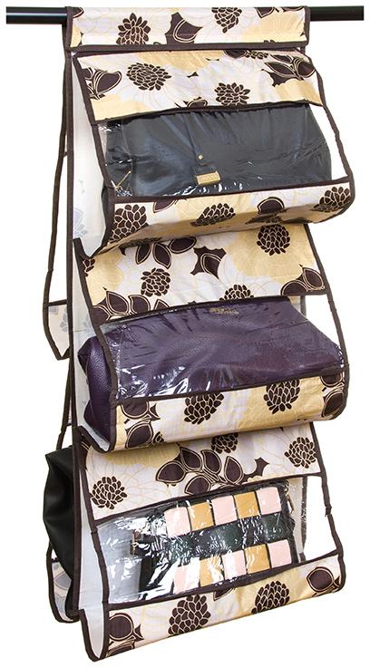 Кофр подвесной для сумок с 5 прозрачными секциями изготовлен из высококачественного материала. В шкафу всегда будет порядок, так как кофр для сумок не только очень компактен, но и, несмотря на свои размеры, вмещает множество вещей. Пять секций, расположенных с двух сторон, позволят вам удобно разместить свои сумочки, полотенца, зонтики и многое другое в легкодоступном месте.