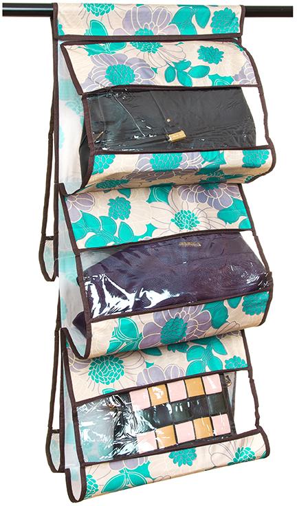 Кофр для хранения сумок El Casa Цветочное изобилие, подвесной, 5 секций, цвет: бирюзовый, 40 х 10 х 90 см370624Кофр подвесной для сумок с 5 прозрачными секциями изготовлен из высококачественного материала. В шкафу всегда будет порядок, так как кофр для сумок не только очень компактен, но и, несмотря на свои размеры, вмещает множество вещей. Пять секций, расположенных с двух сторон, позволят вам удобно разместить свои сумочки, полотенца, зонтики и многое другое в легкодоступном месте.
