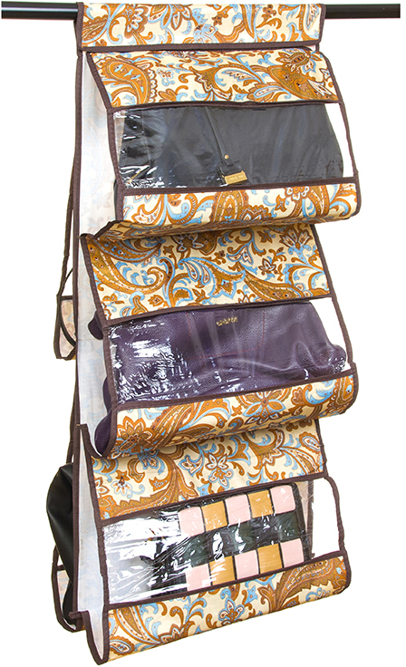 Кофр для хранения сумок El Casa Перо павлина, подвесной, 5 секций, цвет: бежевый, 40 х 10 х 90 см370626Кофр подвесной для сумок с 5 прозрачными секциями изготовлен из высококачественного материала. В шкафу всегда будет порядок, так как кофр для сумок не только очень компактен, но и, несмотря на свои размеры, вмещает множество вещей. Пять секций, расположенных с двух сторон, позволят вам удобно разместить свои сумочки, полотенца, зонтики и многое другое в легкодоступном месте.