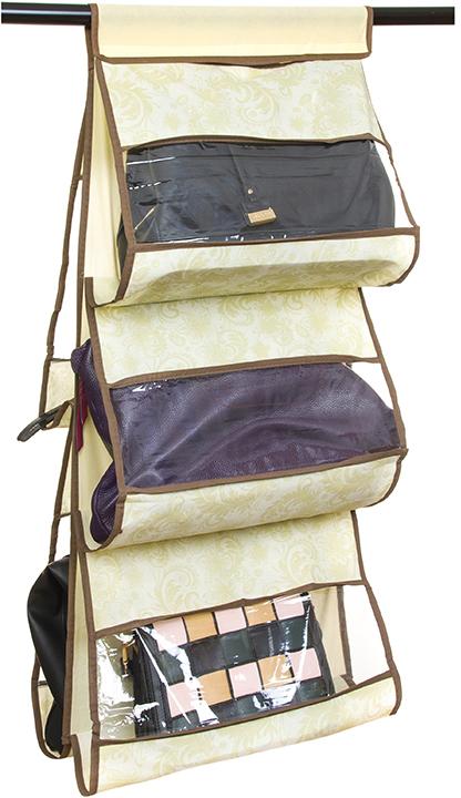 Кофр для хранения сумок El Casa Узор, подвесной, 5 секций, цвет: бежевый, 40 х 10 х 90 см370627Кофр подвесной для сумок с 5 прозрачными секциями изготовлен из высококачественного материала. В шкафу всегда будет порядок, так как кофр для сумок не только очень компактен, но и, несмотря на свои размеры, вмещает множество вещей. Пять секций, расположенных с двух сторон, позволят вам удобно разместить свои сумочки, полотенца, зонтики и многое другое в легкодоступном месте. Размер 40х90 см.