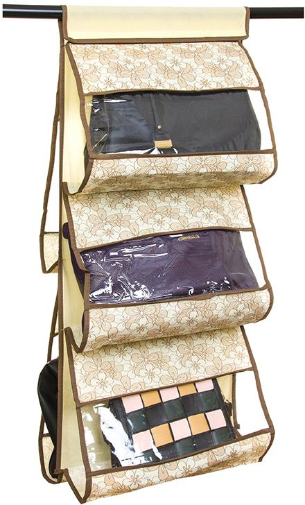 Кофр для хранения сумок El Casa Цветочное изобилие, подвесной, 5 секций, цвет: мультиколор, 40 х 10 х 90 см370628Кофр подвесной для сумок с 5 прозрачными секциями изготовлен из высококачественного материала. В шкафу всегда будет порядок, так как кофр для сумок не только очень компактен, но и, несмотря на свои размеры, вмещает множество вещей. Пять секций, расположенных с двух сторон, позволят вам удобно разместить свои сумочки, полотенца, зонтики и многое другое в легкодоступном месте. Размер 40х90 см.