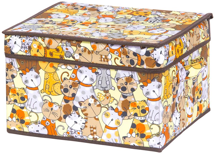 Кофр для хранения вещей El Casa Котята, складной, цвет: лимонный, 32 х 27 х 20 см кофры el casa кофр складной для хранения геометрия стиля