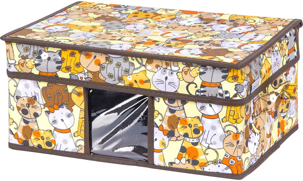 Кофр для хранения вещей El Casa Котята, складной, цвет: лимонный, 35 х 25 х 16 см