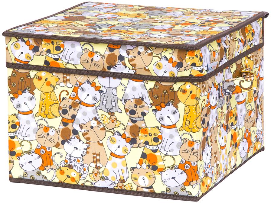 Кофр для хранения вещей El Casa Котята, складной, цвет: мультиколор, 32 х 32 х 24 см кофр складной для хранения el casa песочная мозаика 31 х 31 х 31 см