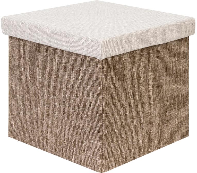 Пуф-короб El Casa, цвет: бежевый, коричневый, 33,5 х 33,5 х 31 см840358Пуф понравится всем ценителям оригинальных вещей. Благодаря удобной конструкции складывается и раскладывается одним движением. В сложенном виде пуф занимает минимум места, его легко хранить и перевозить. Изготовлен из экологически чистого материала.