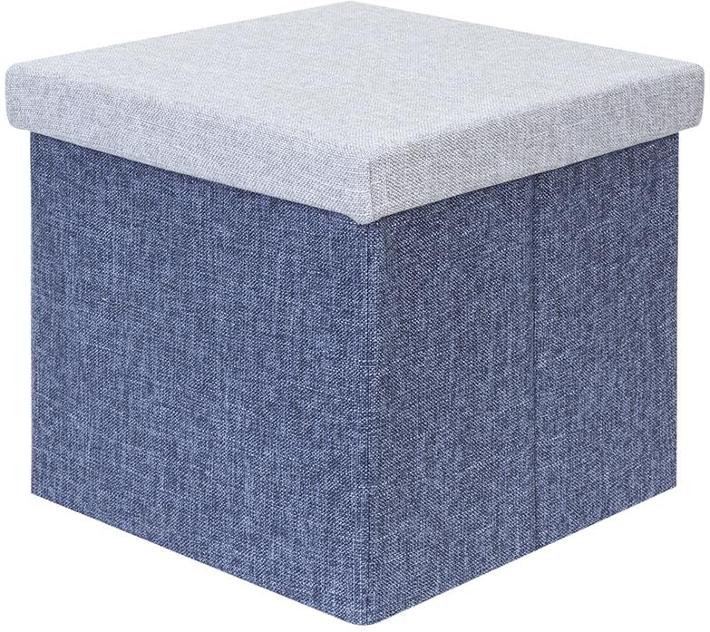 Пуф-короб El Casa, цвет: серый, синий, 33,5 х 33,5 х 31 см840359Пуф-короб El Casa понравится всем ценителям оригинальных вещей. Благодаря удобной конструкции складывается и раскладывается одним движением. В сложенном виде пуф занимает минимум места, его легко хранить и перевозить. Изготовлен из экологически чистого материала.