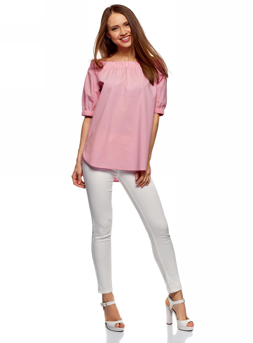 Блузка женская oodji Ultra, цвет: розовый. 11424002/47875/4110S. Размер 40 (46-170)11424002/47875/4110SБлузка хлопковая с открытыми плечами