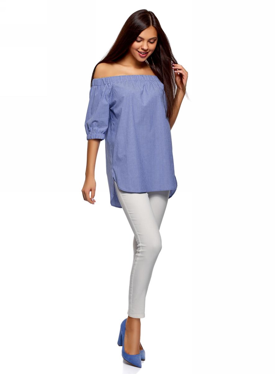 Блузка женская oodji Ultra, цвет: синий. 11424002/47875/7510S. Размер 36 (42-170)11424002/47875/7510SБлузка хлопковая с открытыми плечами