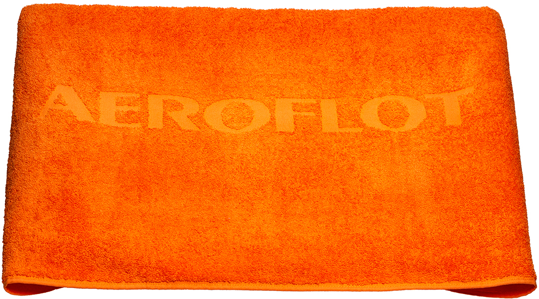 Полотенце пляжное Аэрофлот, цвет: оранжевый, 100 x 150 см2200000451Яркое махровое полотенце с двойным ворсом оценят любители пляжного и активного отдыха. Рельефный рисунок в структуре махровой ткани. Материал: махровая ткань (ткань фроте) на основе хлопка. Ворс двойной (двусторонний).