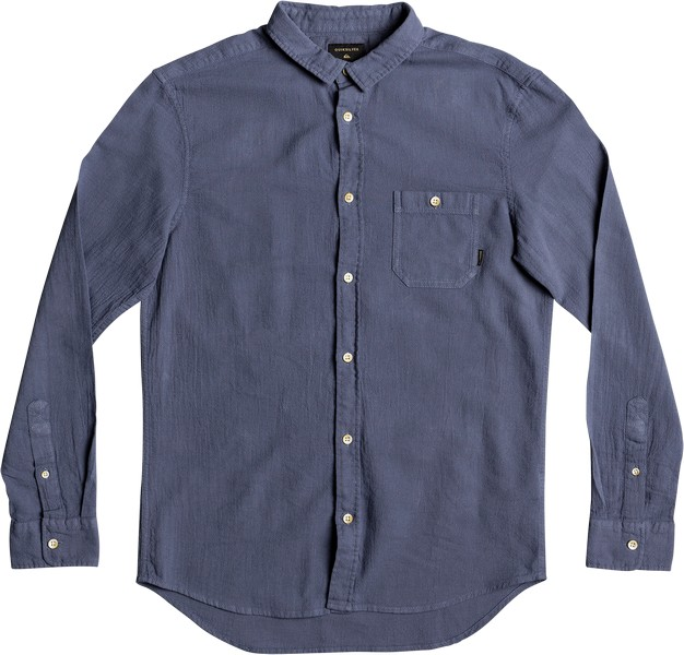 Рубашка мужская Quiksilver, цвет: синий. EQYWT03633-BYL0. Размер XXL (54)EQYWT03633-BYL0Мужская рубашка Quiksilver изготовлена из натурального хлопка, она мягкая и приятная на ощупь, не сковывает движения и позволяет коже дышать, обеспечивая наибольший комфорт. Рубашка с отложным воротником и длинными рукавами застегивается на пуговицы. Манжеты рукавов также застегиваются на пуговицы. Модель дополнена накладным карманом с пуговицей.