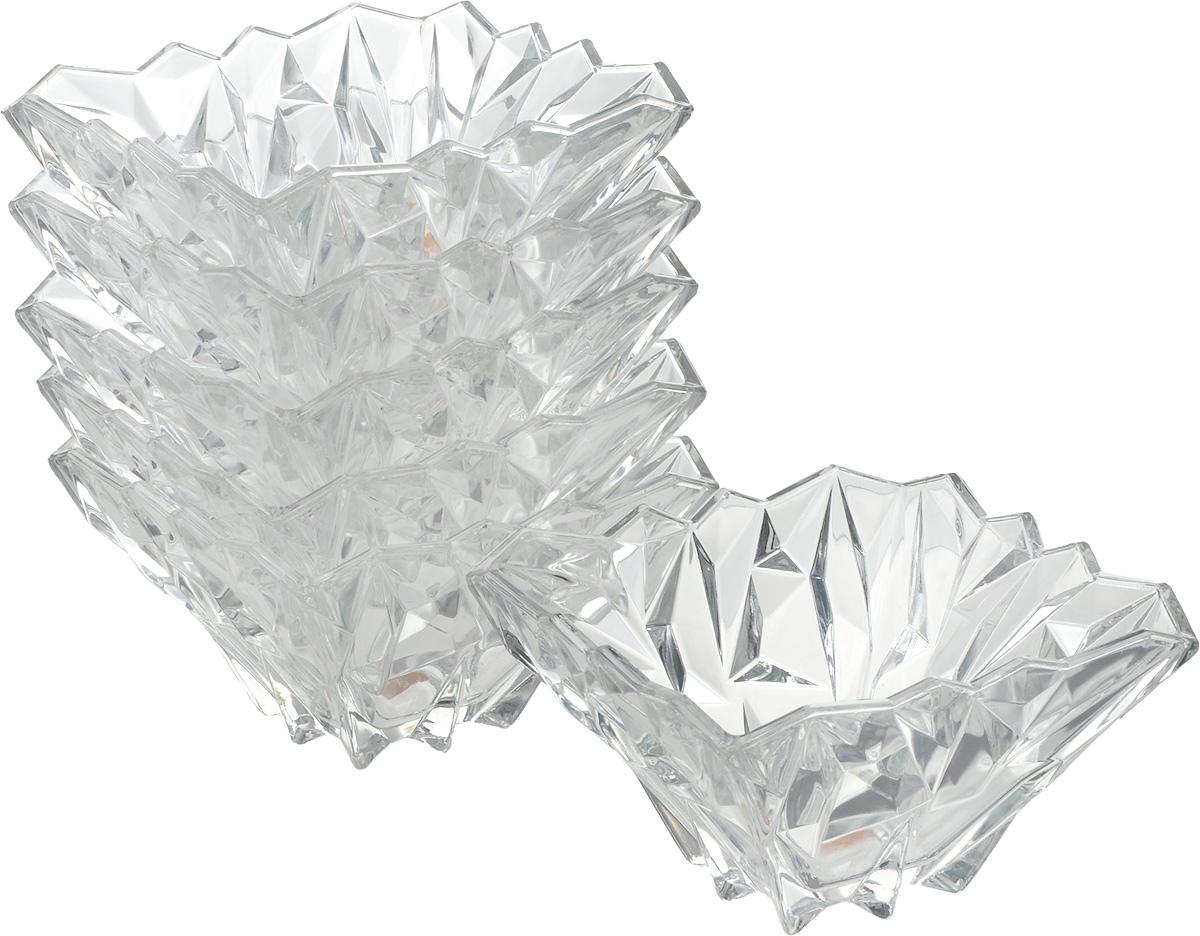 """Салатник Isfahan """"Alaska"""" изготовлен из стекла, прекрасно подойдет для подачи различных  блюд: закусок, салатов или фруктов.  Такое изделие из иранского боросиликатного  стекла - новый тренд на рынке посуды. Оно легче хрусталя, но при этом выглядит достаточно  """"хрустально"""": те же грани, узоры, преломление света, блики, прозрачность, плавность краев и  устойчивость дна.  Такой салатник украсит ваш праздничный или обеденный стол, а  оригинальный дизайн придется по вкусу и ценителям классики, и тем, кто предпочитает  утонченность и изысканность.   Посуду из иранского стекла можно мыть в посудомоечной машине.  В комплект входит 6  салатников."""