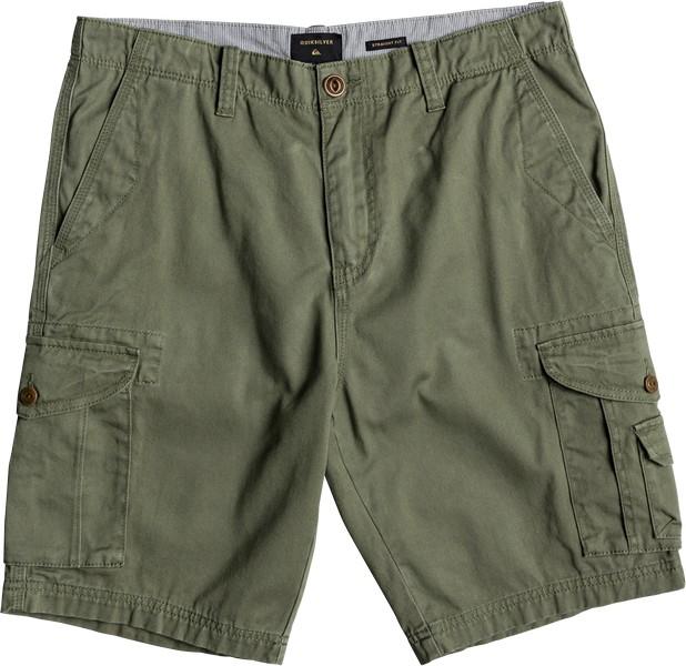 Шорты мужские Quiksilver, цвет: зеленый. EQYWS03456-GPH0. Размер 31 (46/48)EQYWS03456-GPH0Мужские шорты Quiksilver выполнены из 100% хлопка. Модель застегивается на молнию и пуговицу, имеет шлевки для ремня. Шорты дополнены двумя врезными карманами идвумя накладными карманами с клапанами на пуговице. Низ брючин дополнен эластичной резинкой.