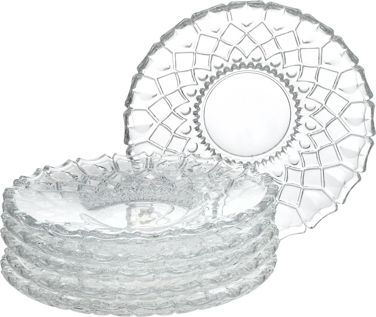 """Блюдо на ножке Isfahan """"Paris"""", выполненное из высококачественного стекла, оригинально  украсит праздничный стол и поможет красиво расположить торт или пирог. Блюдо с рифлеными  краями установлено на изящную ножку.  Такое изделие из иранского боросиликатного  стекла - новый тренд на рынке посуды. Оно легче хрусталя, но при этом выглядит достаточно  """"хрустально"""": те же грани, узоры, преломление света, блики, прозрачность, плавность краев и  устойчивость дна.  Набор состоит из 6 блюд."""