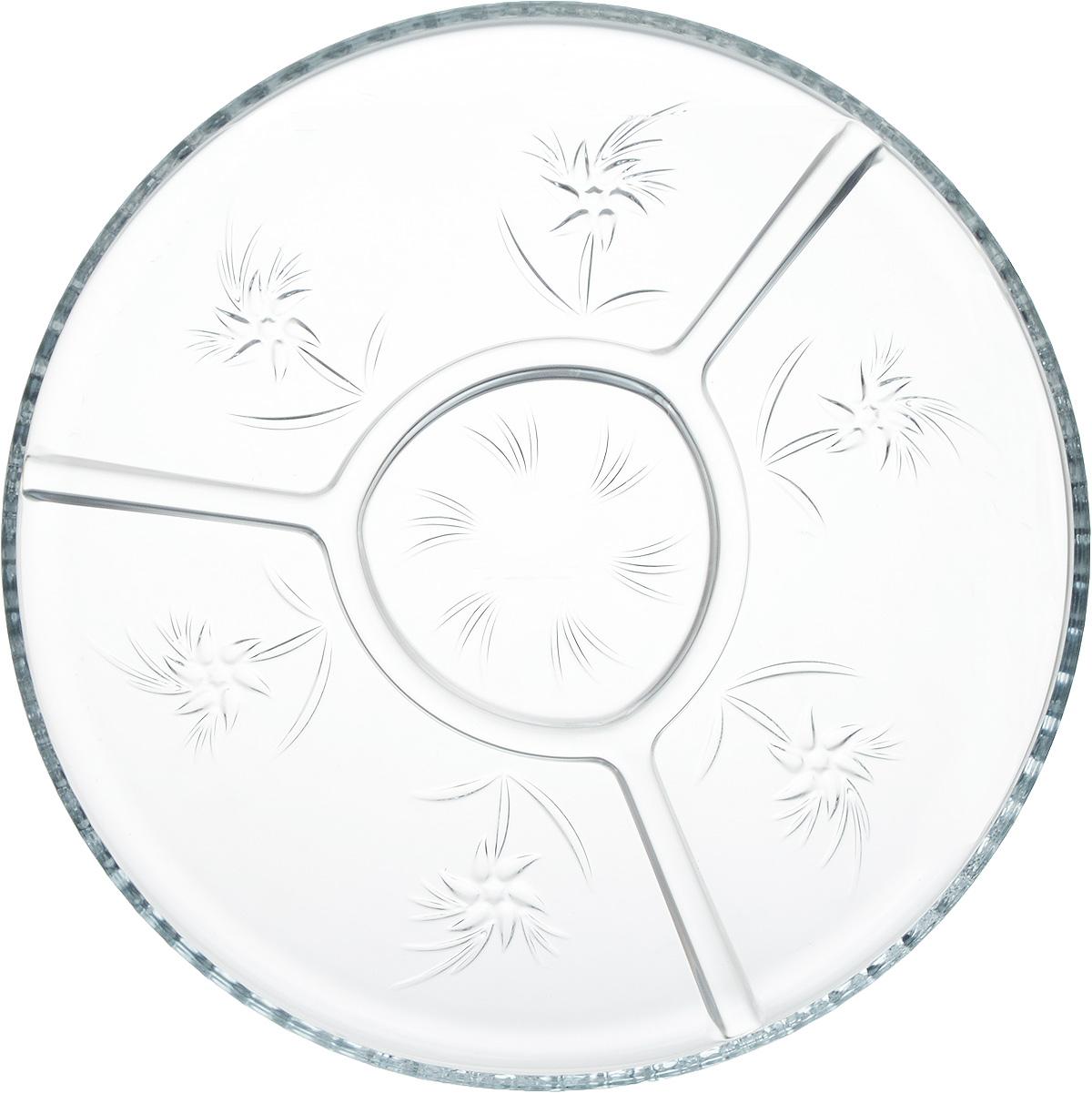 """Блюдо Isfahan """"Simin"""", выполненное из высококачественного стекла, оригинально  украсит праздничный стол и поможет красиво расположить торт или пирог.  Такое изделие из  иранского боросиликатного стекла - новый тренд на рынке посуды. Оно легче хрусталя, но при  этом выглядит достаточно """"хрустально"""": те же грани, узоры, преломление света, блики,  прозрачность, плавность краев и устойчивость дна.  Блюдо имеет плавные перегородки, с  помощью которых можно разделить различные продукты."""