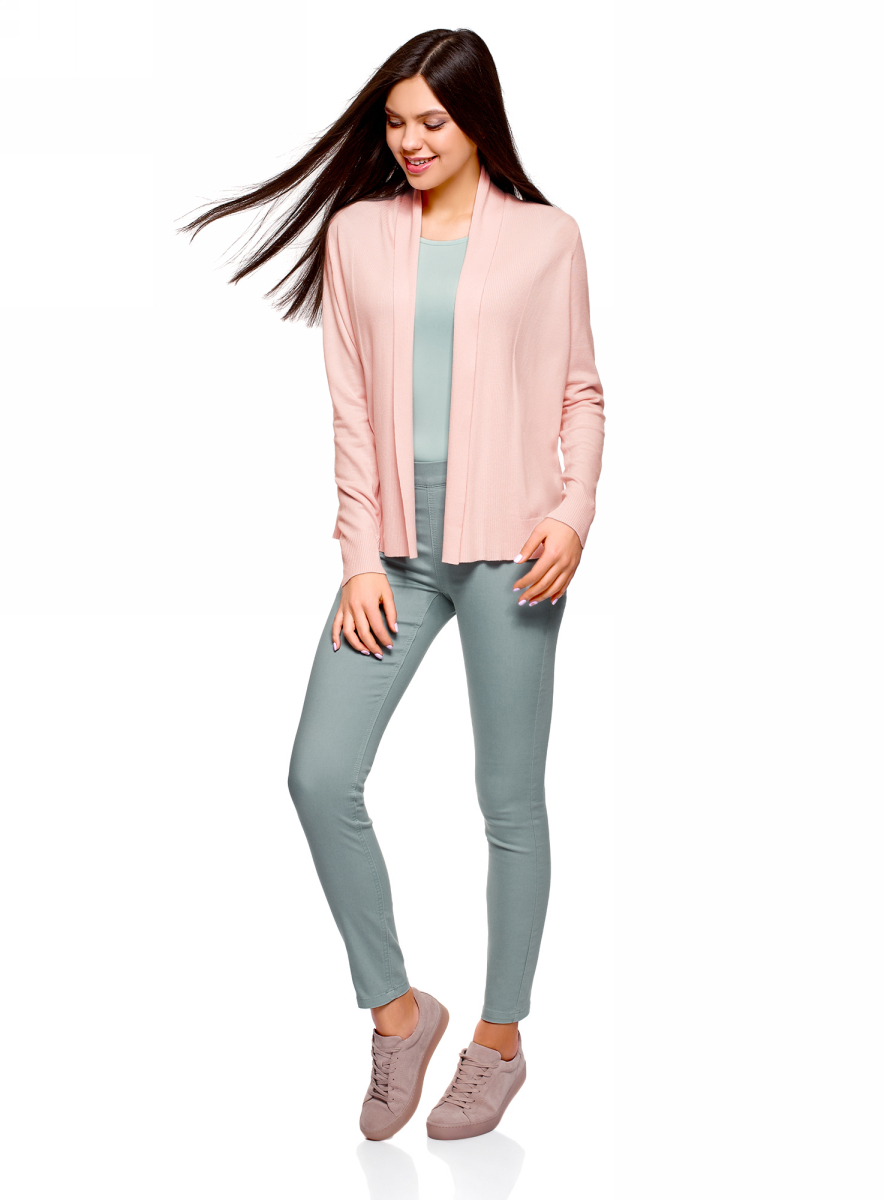 Жакет женский oodji Knits Ultra, цвет: розовый. 63212592/45641/4040F. Размер XS (42)63212592/45641/4040FЖакет комбинированный без застежки