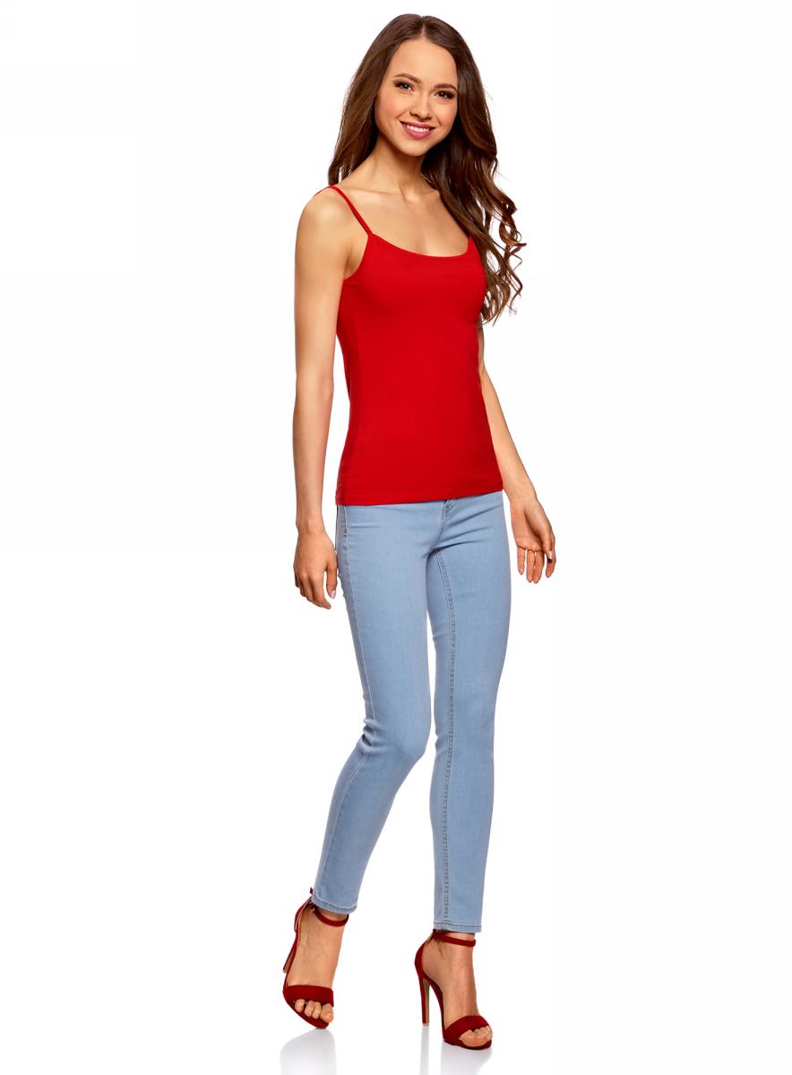 все цены на Майка женская oodji Ultra, цвет: красный. 14305023-1B/46147/4500N. Размер XXL (52) онлайн