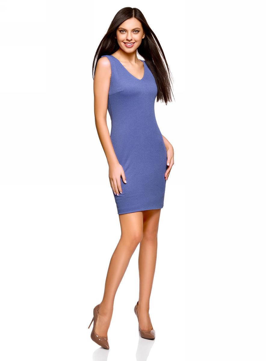 Платье oodji Collection, цвет: синий. 24015003B/45211/7501N. Размер M (46)24015003B/45211/7501NПлатье от oodji выполнено из эластичного трикотажа. Модель облегающего силуэта без рукавов и V-образным вырезом горловины на спинке застегивается на потайную молнию.