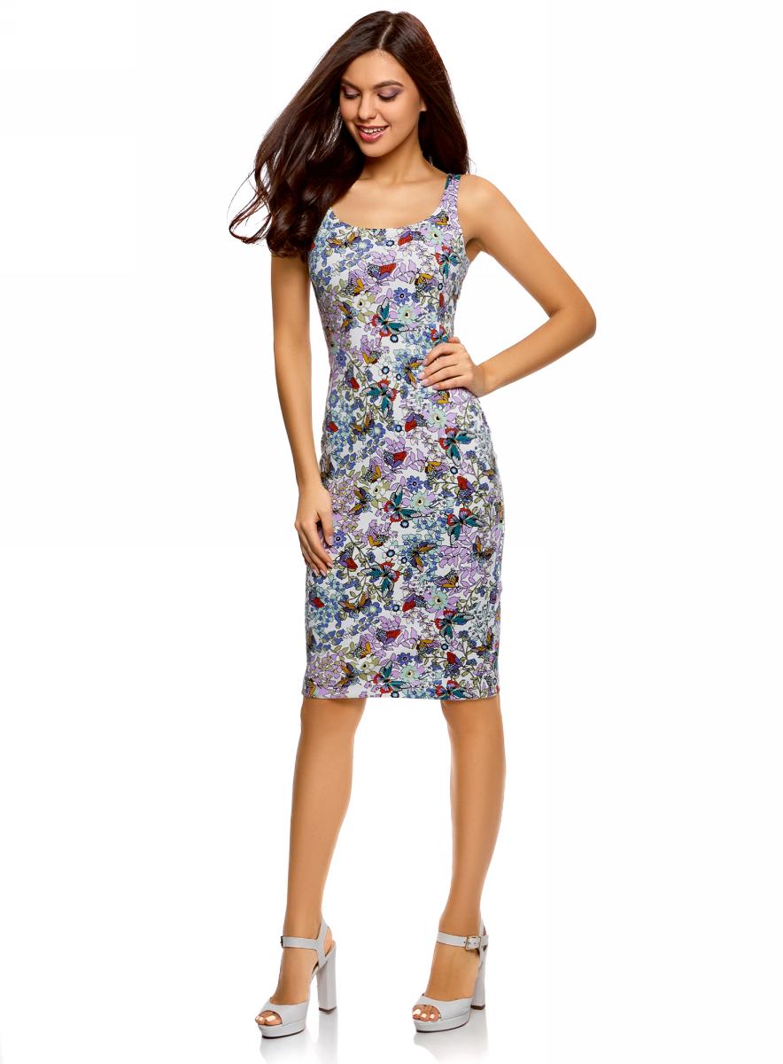 Платье oodji Ultra, цвет: белый, синий. 14015007-3B/37809/1241U. Размер L (48)14015007-3B/37809/1241UЛегкое обтягивающее платье oodji Ultra, выгодно подчеркивающее достоинства фигуры, выполнено из качественного трикотажа. Модель миди-длины с круглым вырезом горловины и узкими бретелями оформлена оригинальным узором. Юбка с задней стороны дополнена разрезом.