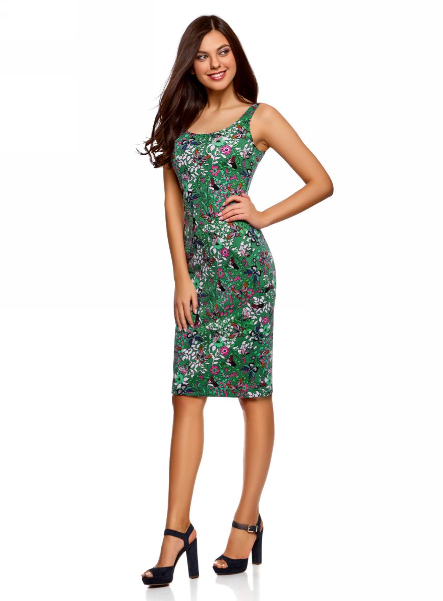 Платье oodji Ultra, цвет: зеленый. 14015007-3B/37809/6241U. Размер S (44)14015007-3B/37809/6241UЛегкое обтягивающее платье oodji Ultra, выгодно подчеркивающее достоинства фигуры, выполнено из качественного трикотажа. Модель миди-длины с круглым вырезом горловины и узкими бретелями оформлена оригинальным узором. Юбка с задней стороны дополнена разрезом.