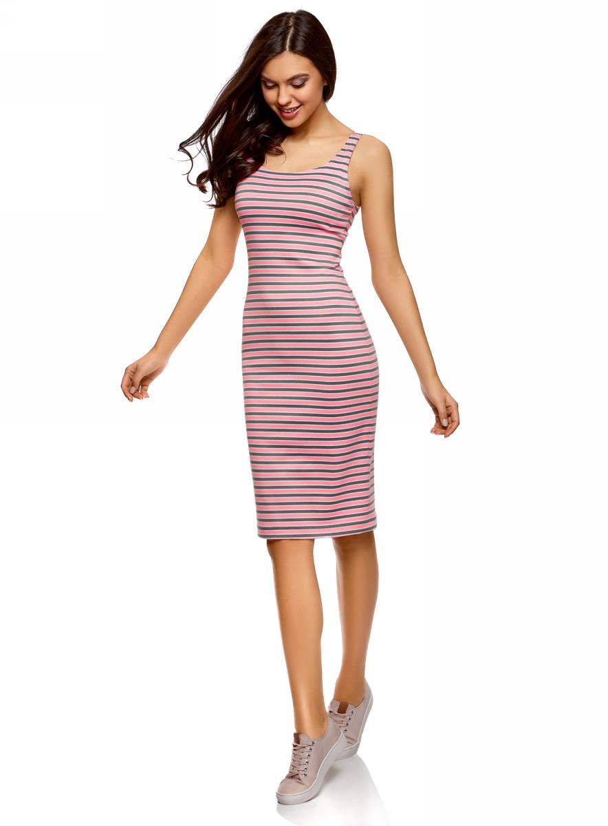 Платье oodji Ultra, цвет: розовый, серый. 14015007-3B/37809/4123S. Размер XS (42)14015007-3B/37809/4123SЛегкое обтягивающее платье oodji Ultra, выгодно подчеркивающее достоинства фигуры, выполнено из качественного трикотажа. Модель миди-длины с круглым вырезом горловины и узкими бретелями оформлена оригинальным узором. Юбка с задней стороны дополнена разрезом.