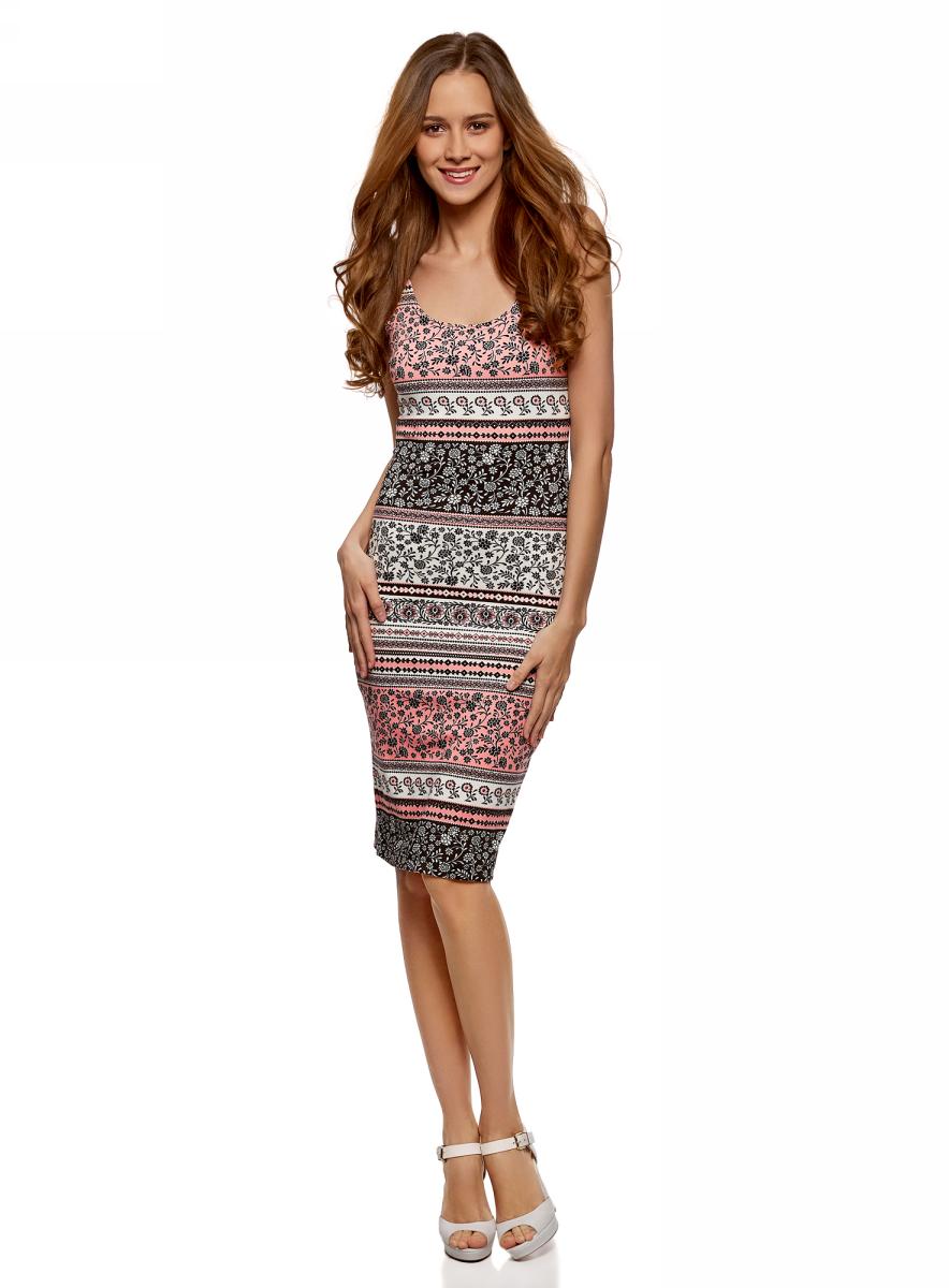 Платье oodji Ultra, цвет: розовый, черный. 14015007-3B/37809/4129E. Размер XS (42)14015007-3B/37809/4129EЛегкое обтягивающее платье oodji Ultra, выгодно подчеркивающее достоинства фигуры, выполнено из качественного трикотажа. Модель миди-длины с круглым вырезом горловины и узкими бретелями оформлена оригинальным узором. Юбка с задней стороны дополнена разрезом.