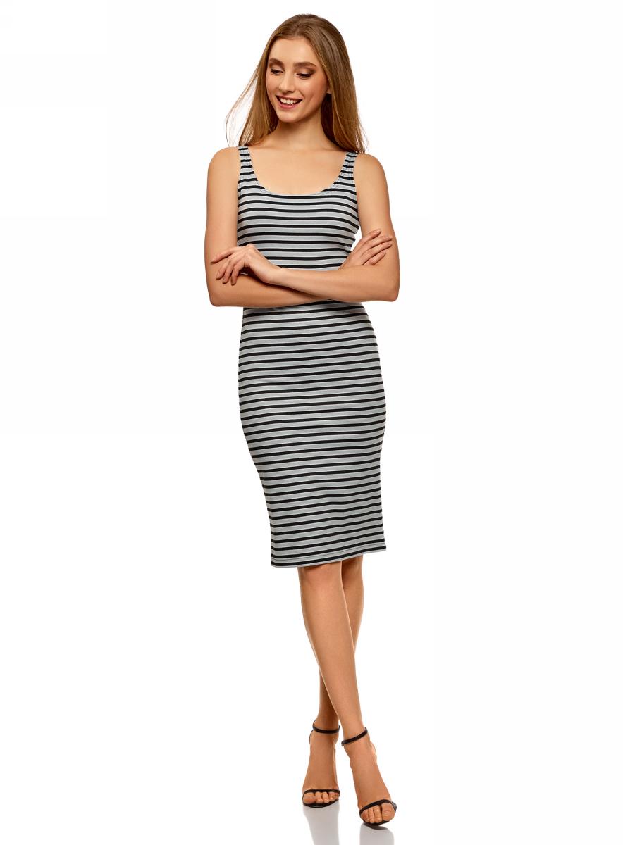 Платье oodji Ultra, цвет: серый. 14015007-3B/37809/2329S. Размер XXL (52) oodji 14015007 1b 45450 5210s