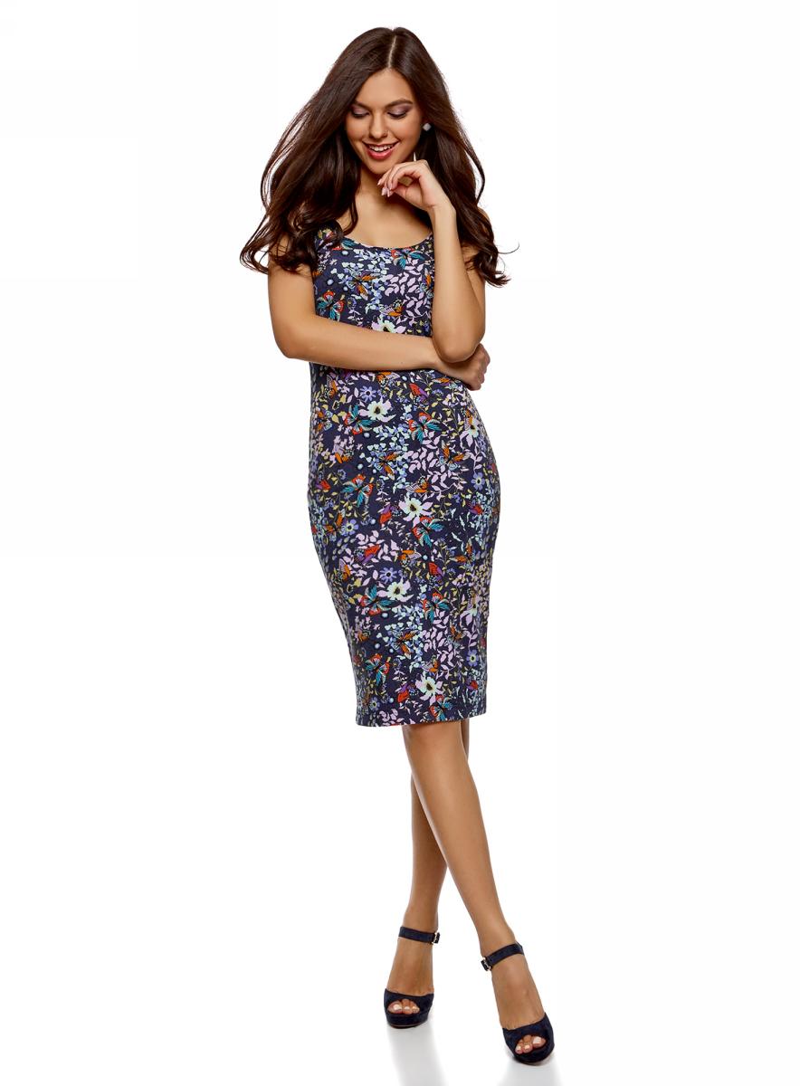 Платье oodji Ultra, цвет: темно-синий. 14015007-3B/37809/7941U. Размер XXL (52)14015007-3B/37809/7941UЛегкое обтягивающее платье oodji Ultra, выгодно подчеркивающее достоинства фигуры, выполнено из качественного трикотажа. Модель миди-длины с круглым вырезом горловины и узкими бретелями оформлена оригинальным узором. Юбка с задней стороны дополнена разрезом.