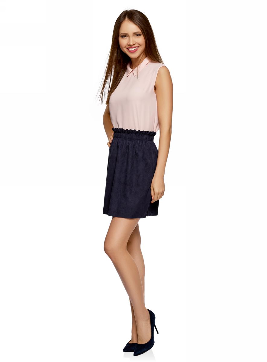 Топ женский oodji Ultra, цвет: бледно-розовый. 14911006B/43414/4000N. Размер 42 (48-170)14911006B/43414/4000NТоп от oodji выполнен из струящейся ткани. Модель без рукавов и с отложным воротником на спинке застегивается на пуговицу.