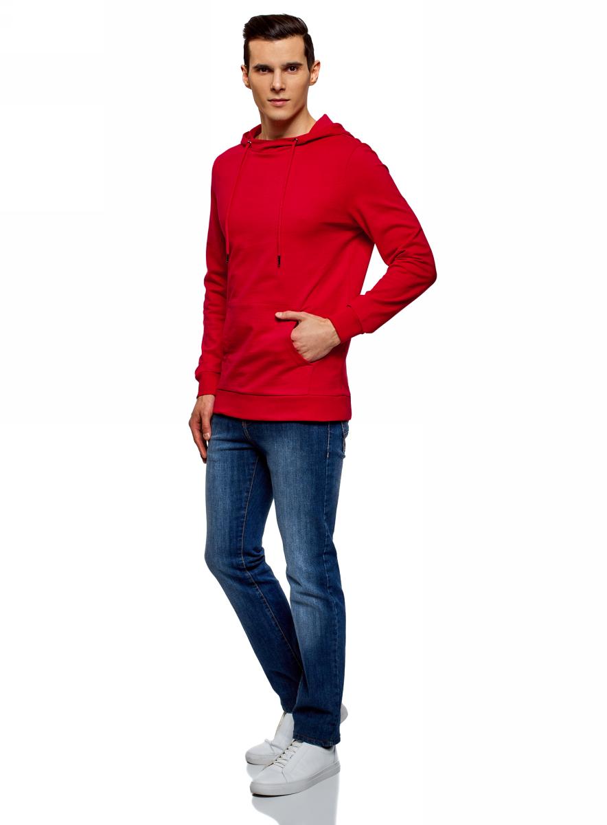 Худи мужское oodji Basic, цвет: красный. 5B111004M/47648N/4500N. Размер L (52;54)5B111004M/47648N/4500NМужское базовое худи от oodji выполнено из натурального хлопкового трикотажа. Модель с длинными рукавами и капюшоном спереди дополнена карманом кенгуру.
