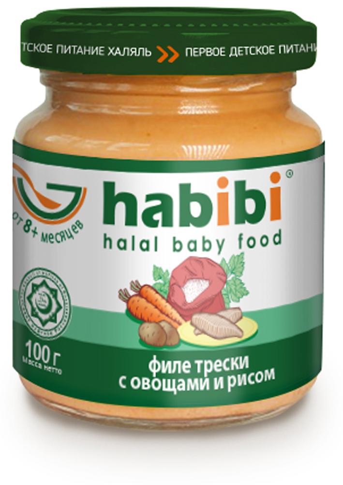 Нabibi Пюре Филе трески с овощами и рисом, 100 г спеленок пюре грушевое 12 шт по 125 г