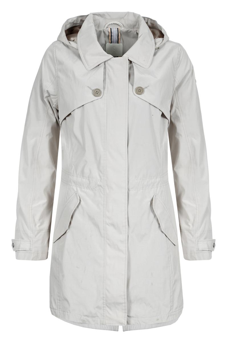 Пальто женское Luhta, цвет: светло-бежевый. 939415380LV_020. Размер 38 (46)939415380LV_020Пальто женское изготовлено из качественной плотной ткани. Модель выполнена с длинными рукавами, отложным воротником и капюшоном. Пальто дополнено боковыми карманами под клапанами.