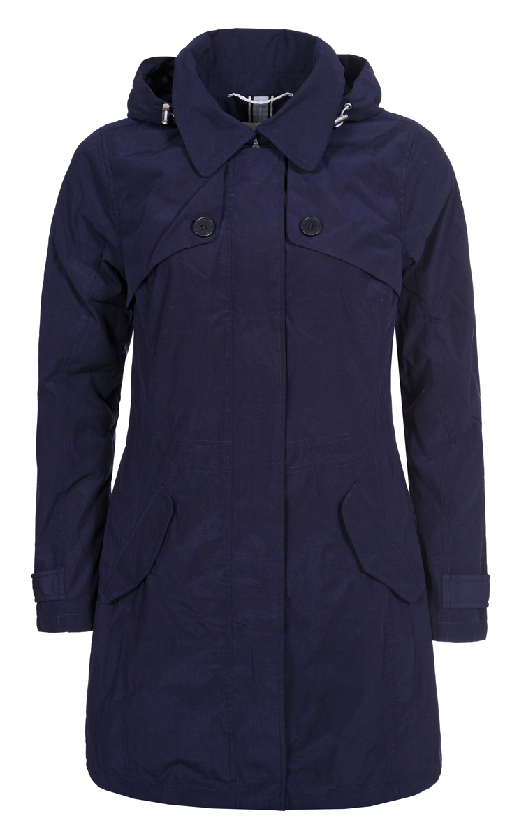 Пальто женское Luhta, цвет: темно-синий. 939415380LV_387. Размер 34 (42)939415380LV_387Пальто женское изготовлено из качественной плотной ткани. Модель выполнена с длинными рукавами, отложным воротником и капюшоном. Пальто дополнено боковыми карманами под клапанами.