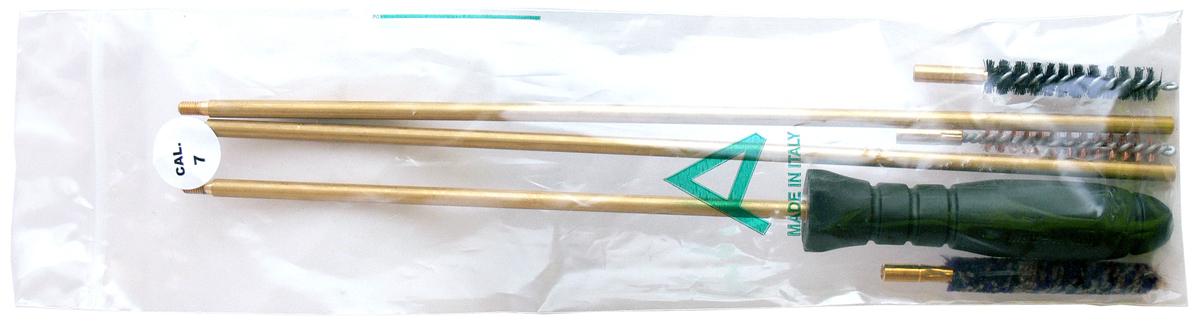 Набор для чистки нарезного оружия Nimar, калибр 7 мм101.0007Набор для чистки Nimar для нарезного оружия 7 мм калибра.В набор входит:1. Металлический шомпол2. 3 щетки (спиральная, щетинная и пуховая)Все компоненты набора упакованы в полиэтиленовый пакет.Набор изготовлен итальянским брендом Nimar. Длина шомпола в скрученном виде 80см