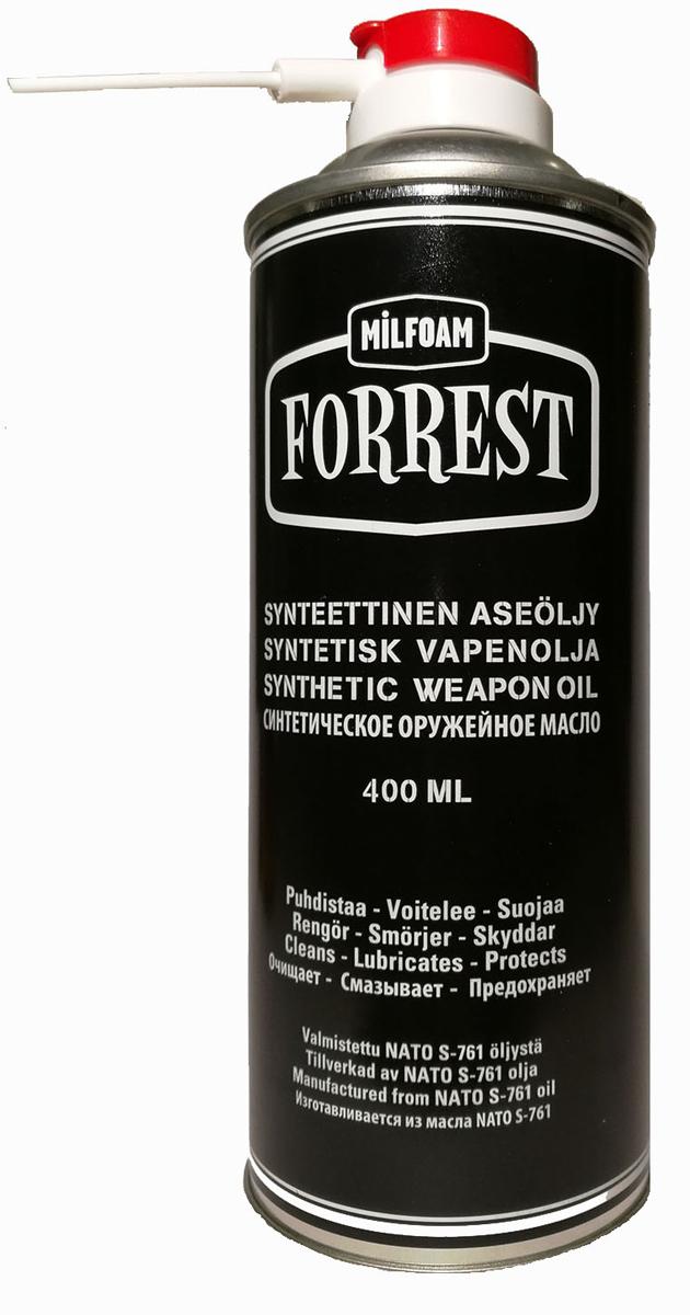 """FORREST Synthetic 100% синтетическое оружейное масло - идеальное дополнение к чистящей пене FORREST. Работает как универсальная аэрозольная оружейная смазка. Отличительной особенностью является то, что при длительном хранении не образуется никакого осадка (как, например, при применении """"тефлоновых"""" масел), то есть все присадки образуют стойкое соединение с самим маслом. При этом сохраняются все полезные свойства. Применяется как для внешних, так и для внутренних поверхностей оружия, для смазки механизмов, пригодно для использования в автоматическом оружии при низких температурах. Уменьшает трение и предохраняет металл от разрушительного воздействия агрессивных веществ, в том числе от морской воды."""