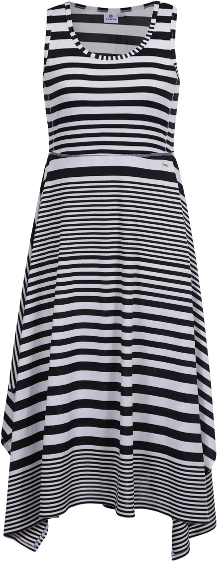 Платье Luhta, цвет: черный. 939272432LV_990. Размер M (46)939272432LV_990Платье от Luhta выполнено из эластичного полиэстера. Модель с круглым вырезом горловины и асимметричным подолом не имеет рукавов.