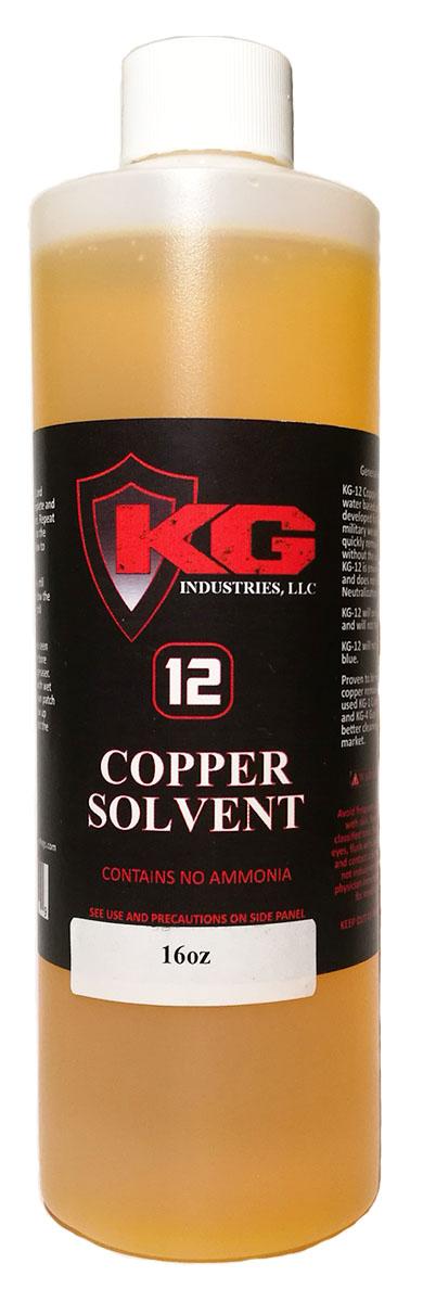 Состав для очистки нарезных стволов от медных отложений с индикатором цвета (коричнево-золотой). KG-12 полностью на водной основе и не содержит аммиак. В отличии от других сольвентов, состав KG-12 Big Bore Cleaning Solvent очень бережно относится к стволам и не портит их, после использования состава, его не надо «нейтрализовать» специальными маслами.Компания Kal-Gard (на сегодняшний день - KG Industries, LLC США) с самого начала была нацелена только на производство высококачественных защитных составов!  В число постоянных клиентов сразу вошли крупнейшие заказчики из аэрокосмических, военных, спортивных отраслей (авто/мотоспорт), производители оборудования для бурения нефтяных скважин, медицинского оборудования и т.д.   KG Industries, LLC - это полностью американская компания, обслуживающая мировой рынок с дистрибьюторами во всех крупнейших странах, включая Австралию, Канаду, Италию, Японию, Новую Зеландию и Великобританию. Оружейная химия от KG Industries, в целом, просто не имеет себе аналогов. Так, например, популярнейшие составы KG-1 и KG-12 для снятия гари и меди после применения не надо нейтрализовать, т.к. они полностью на водной основе и не содержат аммиак. Именно благодаря таким ультрасовременным разработкам компания заработала себе репутацию высококлассного производителя защитных составов и средств по чистке оружия!