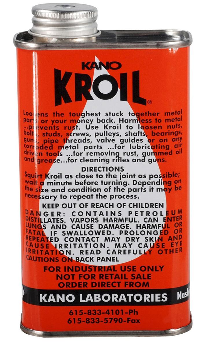 Kano Kroil - масло с высокой проникающей способностью. Идеально подходит для чистки и защиты оружия!  Очищает и смазывает детали, образует прочную пленку, предотвращающую дальнейшие загрязнения. Растворяет ржавчину и нагар, удаляет загустевшие масла, жиры и даже смолы, не повреждая металла. Надежно сохраняет стальные детали от коррозии предотвращает образование налета. Вытесняет влагу с металлических поверхностей.  Сохраняет самые уязвимые детали при хранении вне помещений, во время длительной транспортировки, предохраняет от влияния неблагоприятных метеорологических условий (в том числе от замерзания зимой), не отвердевает, не липнет. Уменьшает трение сцепления, скольжения и качения в любых подвижных механизмах. Ослабляет крепко сидящие (пригар, окалина и ржавчина) резьбовые и прочие соединения. Быстро разрыхляет заржавевшие гайки и болты - освобождает прикипевшие валы, шкивы, гайки, штифты, подшипники и т.д.Данный продукт сделан из натуральных компонентов и безопасен для людей и домашних животных.