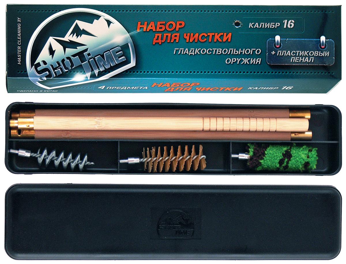 Набор для чистки гладкого оружия ShotTime, калибр 16. ST-CK-16PBWST-CK-16PBWНабор для чистки ShotTime для гладкоствольного оружия 16 калибра.В набор входит:1. Составной деревянный шомпол (3 колена).2. 3 ерша (пуховка, спираль, щетина). Все компоненты набора упакованы в пластиковый пенал. Длинна шомпола в скрученном виде, составляет 80 см. Элементы набора и узлы деталей сделаны из высококачественных материалов с применением современных технологий.