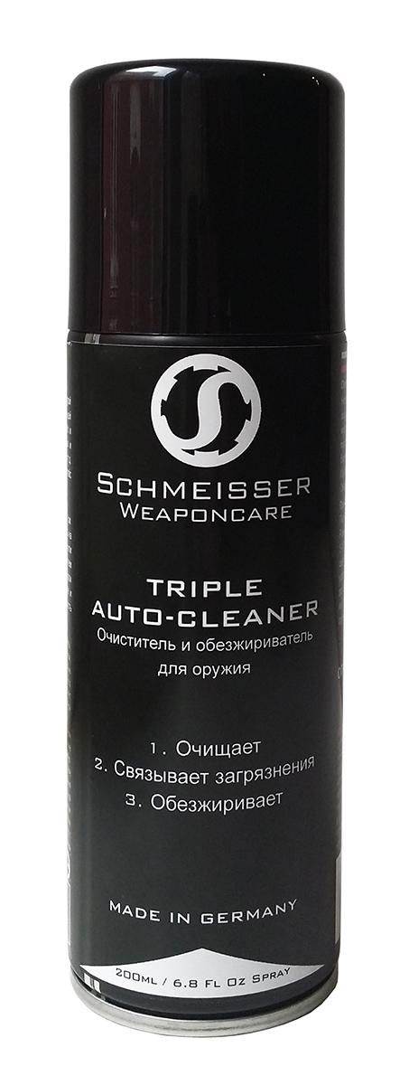Очиститель и обезжириватель для оружия Schmeisser, 200 млSW80-0030-VE12-RUНепревзойденное средство для очищения поверхности вашего оружия от грязи, нагара, мусора, старой смазки, масел и т.д.Средство находится под давлением, поэтому создает сильную струю чистящей жидкости. Вы без особых усилий удалените любое загрязнение из всех труднодоступных мест вашего огнестрельного оружия: там, где нет возможности пролезть ершом или тряпкой. TripleAutomatic Cleaner станет незаменимым помощником для владельцев автоматического и полуавтоматического оружия, которое требует к себе гораздо больше внимание, т.к. имеет более сложную систему перезарежания в виде различных поршневых систем и газовых камер, подвергающуюся также сильному загрязнению во время стрельбы. Средство отлично подходит для чистки магазинов как классического, так и барабанного типа, стволов, спусковых механизмов, затворов, ударников, выбрасывателей, чоков и т.д.Идеально подходит для подготовки металлической поверхности к воронению.Несмотря на свою удивительную способность очищать, основа Triple Automatic Cleaner – вода, поэтому средство абсолютно биологически разлагаемо. Короткое время сушки. Не оставляет следов.Очиститель и обезжириватель для оружия • Очищает • Связывает загрязнения • ОбезжириваетПринцип работы:При попадании на поверхность, активные вещества Triple Automatic Cleaner проникают в самые мелкие поры и микротрещины металла. Начинается процесс «связывания» загрязнения - средство растворяет и оттесняет грязь от металла, объединяя её в однородную пленку, которая без проблем удаляется тряпкой.