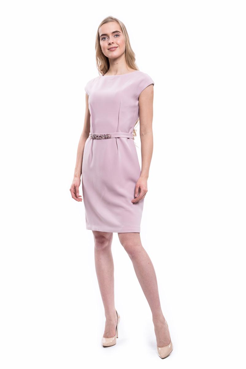 Платье Lusio, цвет: розовый. AW18-020167. Размер S (42/44)AW18-020167Стильное платье Lusio изготовлено из качественной плотной ткани. Приталенная модель длины мини с короткими рукавами оформлена декоративными вытачками и боковыми карманами. Платье застегивается сзади на скрытую молнию.