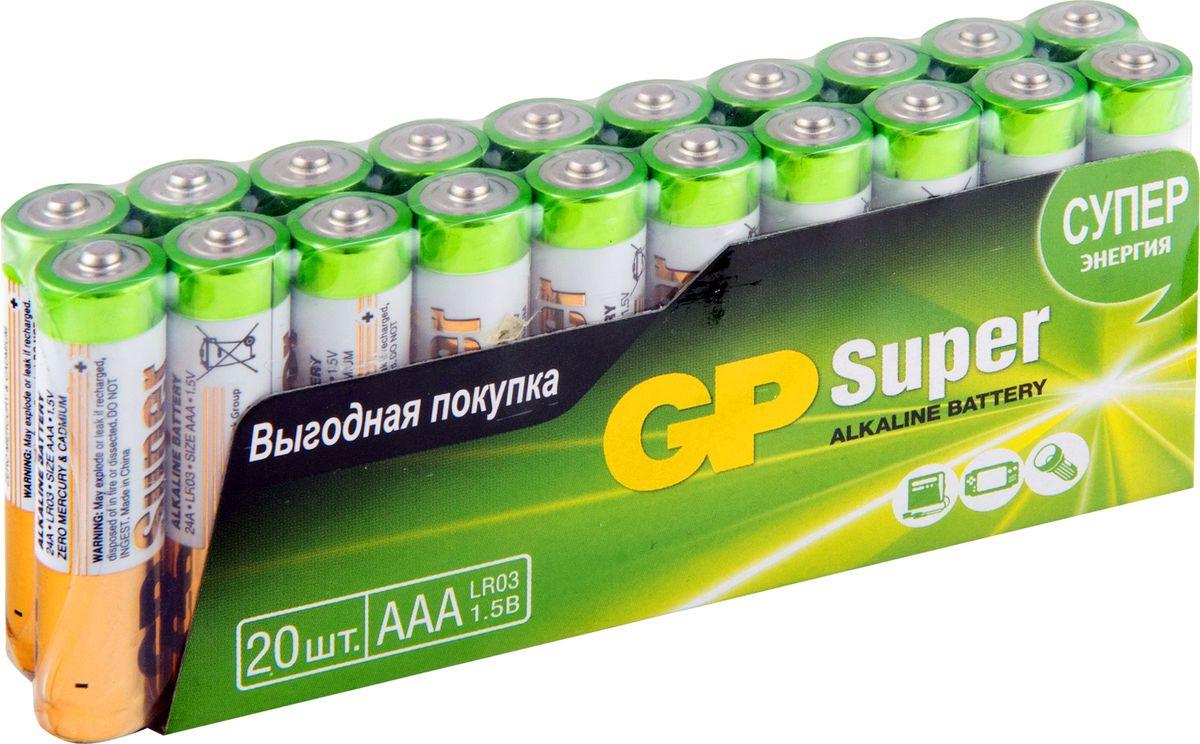 Набор алкалиновых батареек GP Batteries, тип ААА, 20 шт11815Батарейки GP Super Alkaline прекрасно подходят для увеличивающейся потребности в источниках питания для устройств повседневного использования. Идеальное соотношение цена/качество. Надежный продукт широкого спектра применения, подходящий для потребителей всех возрастов.* Увеличенная продолжительность работы* Огромный ассортимент типоразмеров* Длительный срок хранения (до 7 лет)