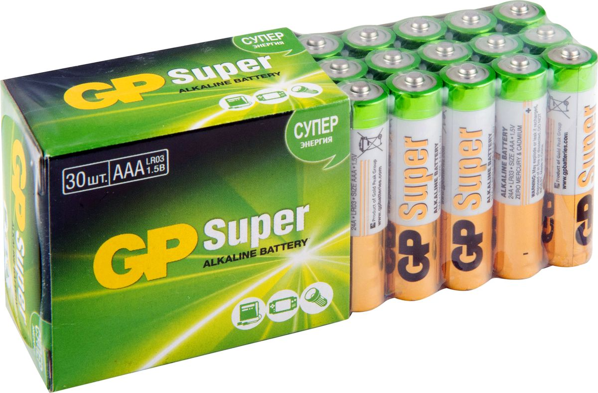 Набор алкалиновых батареек GP Batteries, тип ААА, 30 шт ag8 lr55 1 55v alkaline cell button batteries 10 piece pack