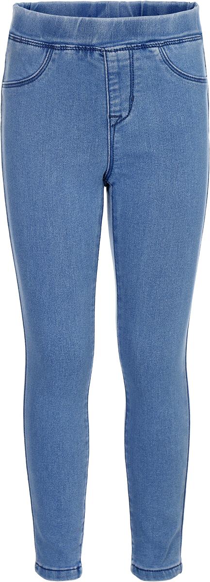 Брюки для девочки Sela, цвет: голубой. PJ-535/003-8151. Размер 110PJ-535/003-8151Брюки детские изготовлены из хлопка с добавлением полиэстера и эластана. Модель выполнена с резинкой на талии и имитацией ширинки.