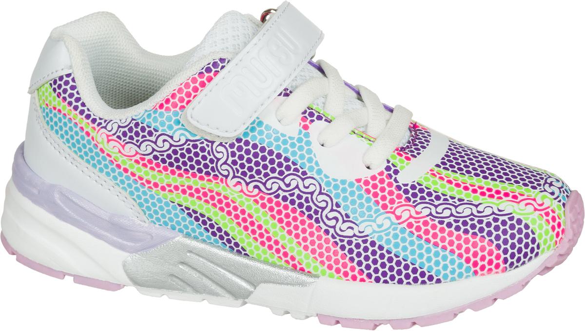 Кроссовки для девочки Mursu, цвет: белый, сиреневый. 203169. Размер 32203169Застежка велькро (липучка) и эластичные шнурки.