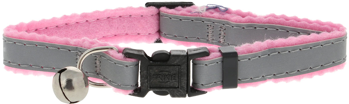 Ошейник для кошек Trixie, с колокольчиком и отражателем, цвет: розовый, обхват шеи 19-31 см trixie кормушка trixie для птиц 17 см 110 мл