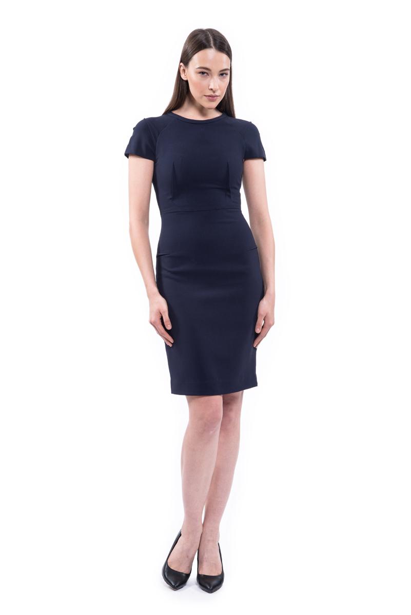 Платье Lusio, цвет: темно-синий. AW18-020190. Размер XS (40/42)AW18-020190Стильное платье Lusio изготовлено из качественной плотной ткани. Приталенная модель длины мини с короткими рукавами оформлена декоративными вытачками. Платье застегивается сзади по всей длинена металлическую молнию.